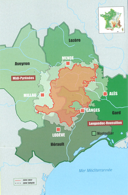 carte unesco causses cevennes