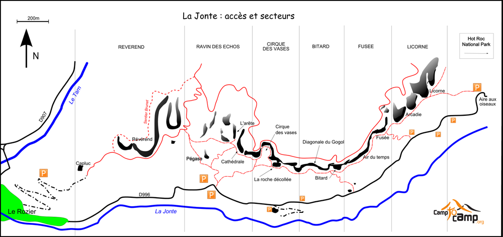carte site escalade jonte
